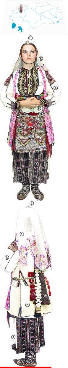 Sela pod Suva Gora bride,turn of the 20thc Venčajnca (bridal dress); Elek (bodice); Saja r'kae (slvless top); Pojas (sash);Skutina (apron); Šamii (scarves); Čapragje (sm buckle); Monistren kjustek (plaits ornamented w/beads); Gornik (bridal coat); Kolan (silver belt); Sokaj (head cover); Čevre (white scarf embroidered w/silk & silver threads),Topka igla (silver hair pin). Hair is plaitedw/Prcle (bunch of tiny plaits of hair); Šutarki (leggings); Kalčini golemi sitni (socks) Opinci (sandals)