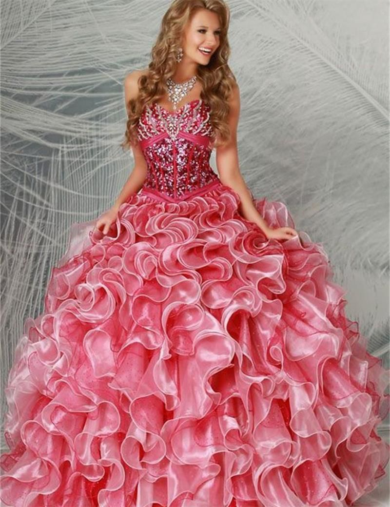 2017 Rose Quinceanera Dresses Sweetheart Sequined Pleat Organza Ball ...