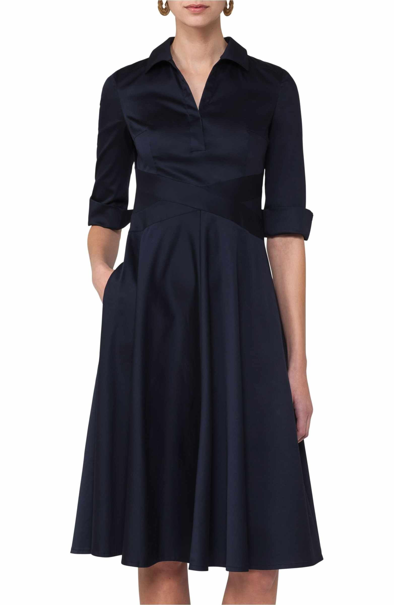 Main Image Akris Punto Sateen Fit Flare Shirtdress Formal