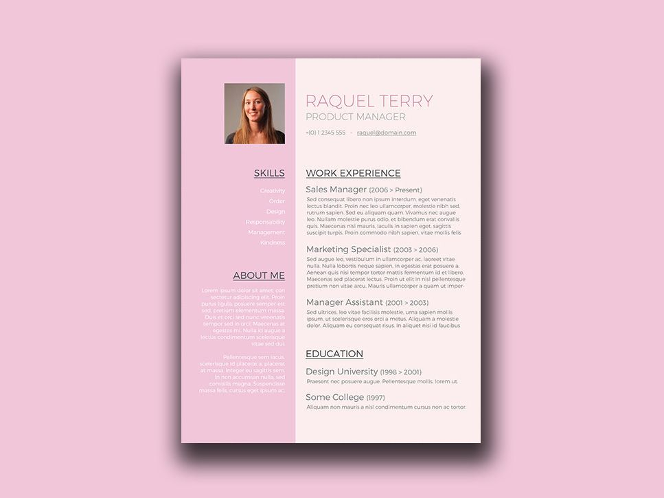 here is free feminine resume template in word format for next job