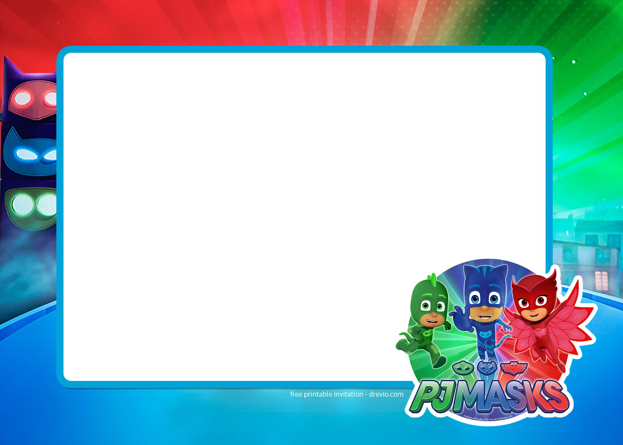Nice FREE PJ Masks Birthday Invitation Templates