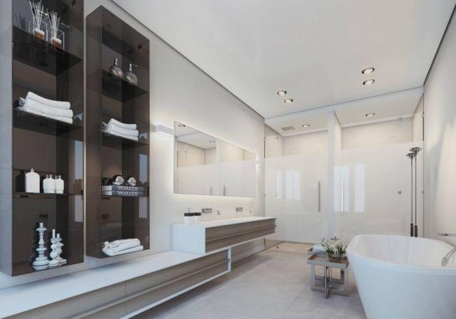 Stauraum Badezimmer ~ Badezimmer abgehängte decke waschbeckentisch stauraum holzfronten