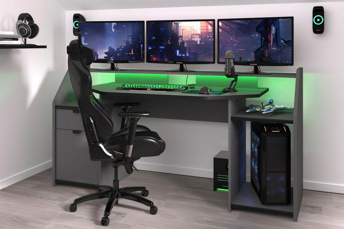 Gaming Tisch Set Up Inkl Led Beleuchtung Computertisch Schreibtisch Setup Und Schreibtischideen