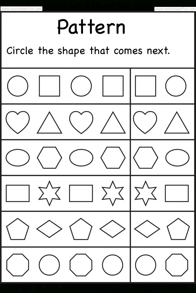 9 Complete The Pattern Worksheet Kindergarten Pattern Worksheets For Kindergarten Free Preschool Printables Free Preschool Worksheets