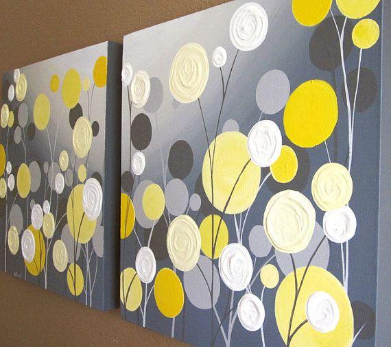 Wall Art, texture jaune et gris abstrait et fleuri, deux 20 x 20 ...