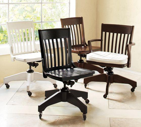 NO Arms! Desk Chair Swivel Desk Chair, Espresso Stain