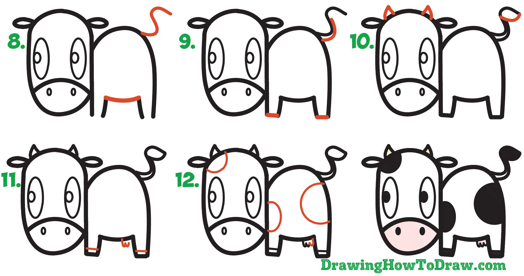How To Draw A Cute Cartoon Kawaii Cow Easy Step By Step Drawing Tutorial For Kids How To Draw Step By Step Drawing Tutorials Cow Drawing Drawing Tutorials For Kids