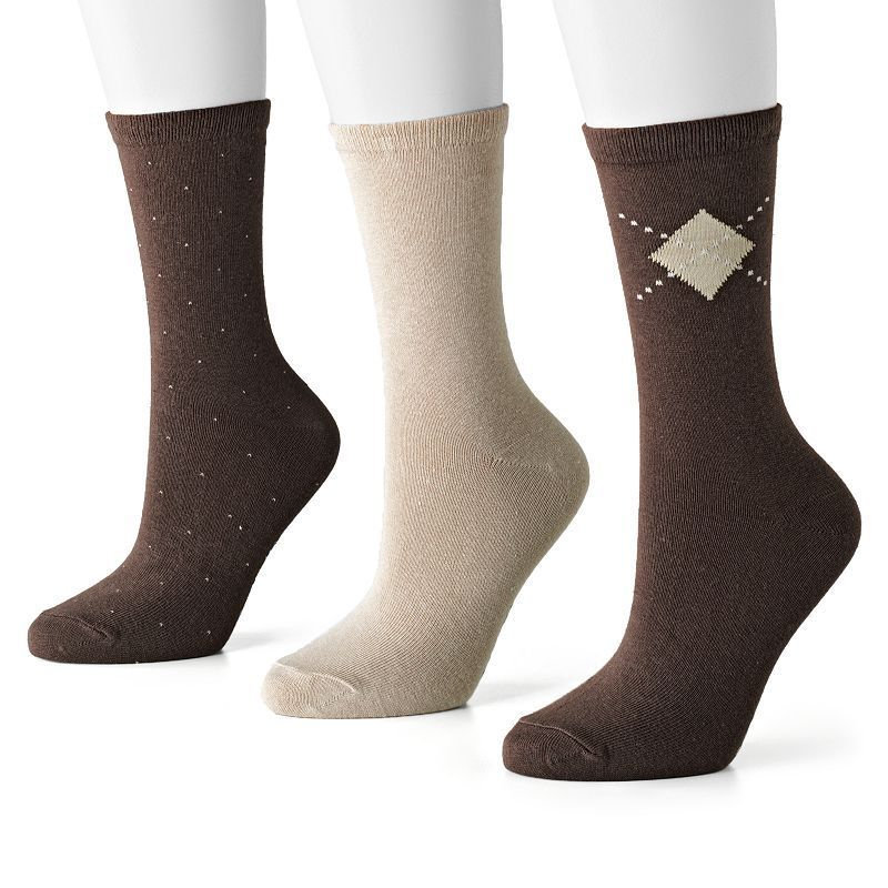 SONOMA Goods for Life™ 3-pk. Pin-Dot, Argyle and Solid Socks, Women's, Size: 9-11, Brown