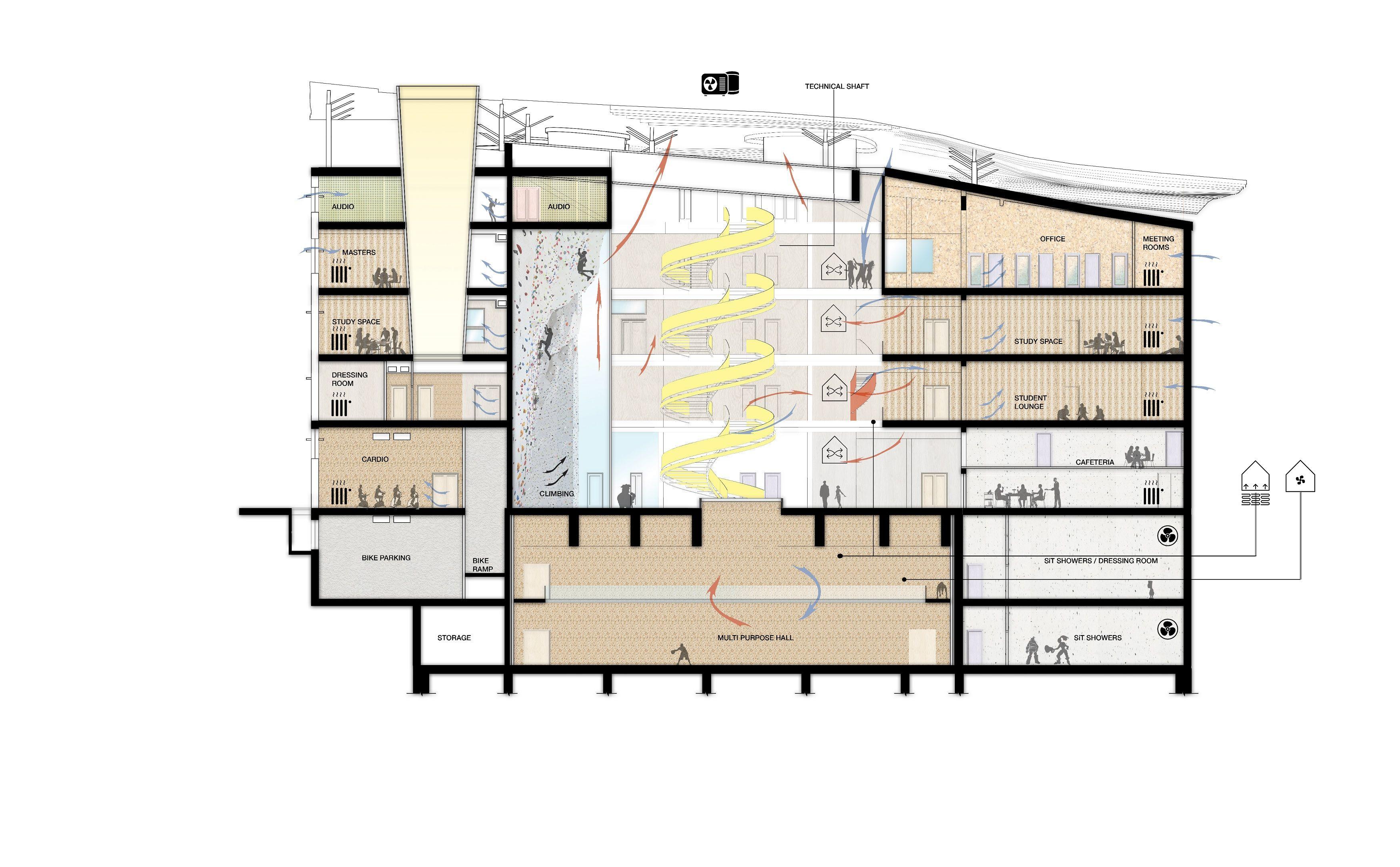 Architectural Diagrammatic Section Pavilion Architecture Architecture Floor Plans
