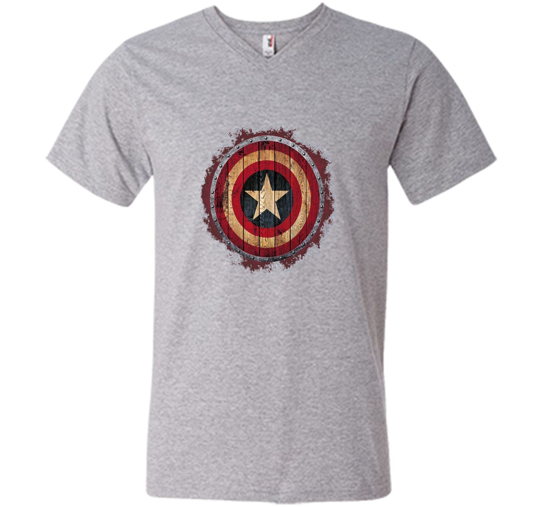 Captain America Shield Wood Print Graphic T-Shirt