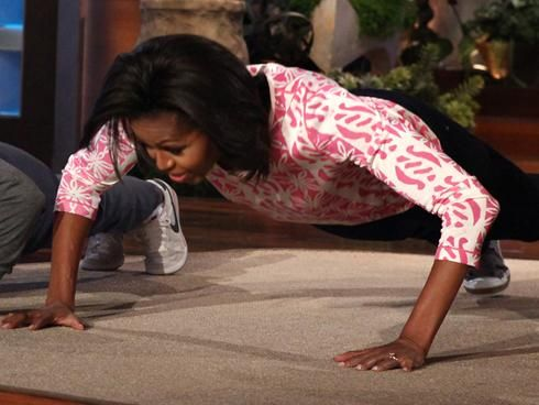 First ladies who do pushups on the Ellen show... yeah, that's cool.