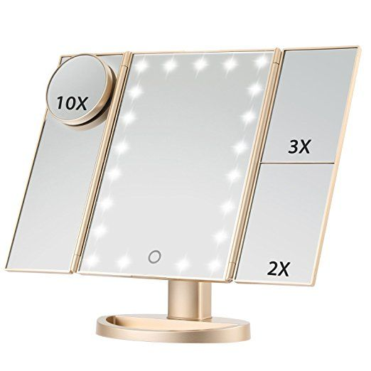 Tri Fold Vanity Mirror With Lights Entrancing Led Lighted Makeup Mirror Magicfly 10X 3X 2X 1X Magnifying Mirror Decorating Inspiration