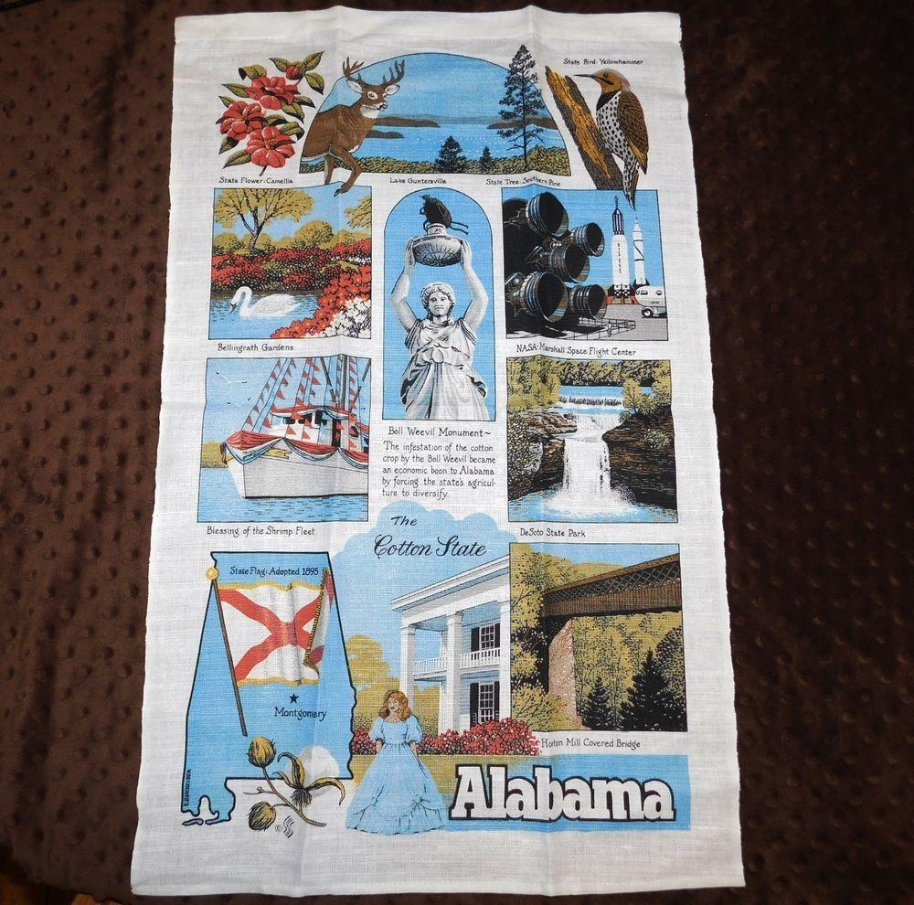 Alabama Linen Kitchen Hand Tea Towel Wall Hanging Cotton State ...