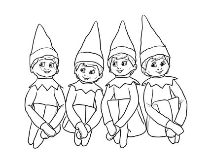 click to see printable version of elves on the shelf coloring page