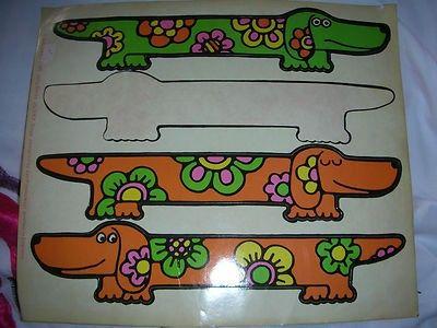 Jan Pienkowski Stickers Vintage 1970s Gallery Five SAUSAGE DOG dachshund RARE! (04/15/2012)