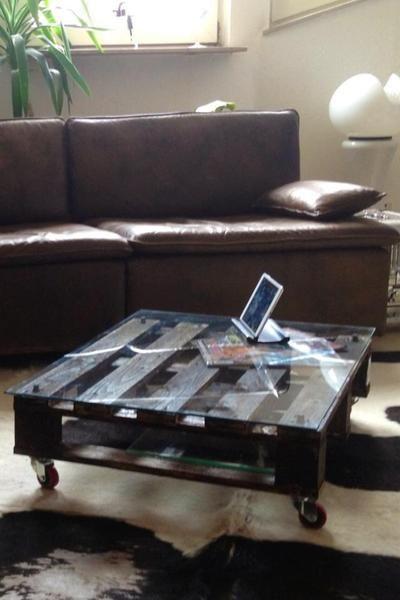 Couchtisch Tisch Vintage Rollen Palette Glas von style dein ding - couchtisch aus glas ideen interieur