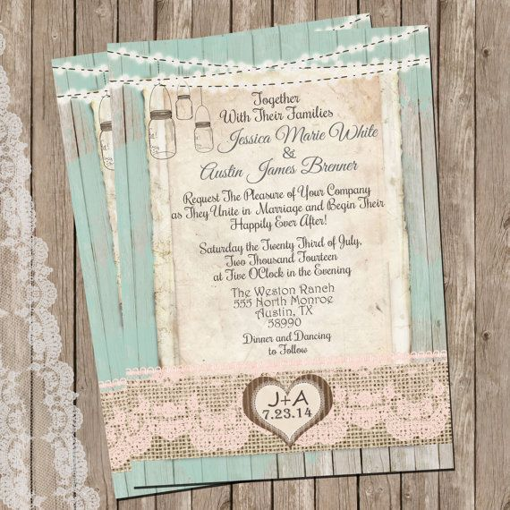 Mint and Peach Burlap and Lace Wedding Invitation Rustic Wood