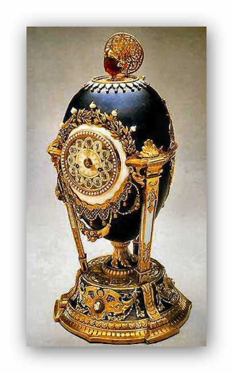 The 1900 Cockerel Egg (originally Cukoo Clock Egg) was crafted by Peter Carl Fabergé in his set of 50 Fabergé Eggs. The egg was given by Tsar Nicholas II to Epress Maria Feodoronova as a gift. The egg has a mechanism on the top rear that enables its bird to come out and move