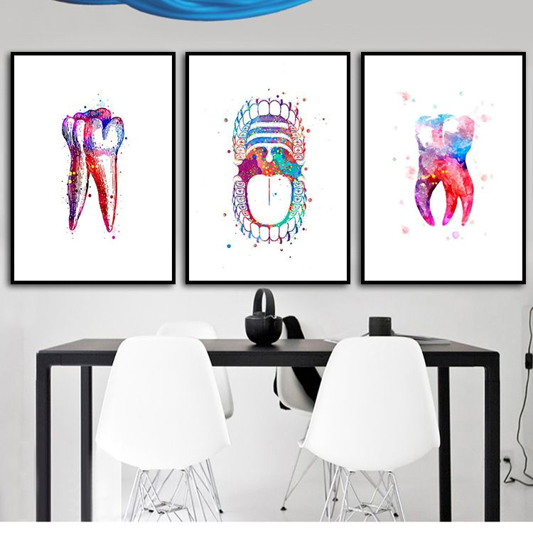 Tooth Watercolor Print Dental Art Dentist Poster Human Teeth Anatomy Stomatology Decor Clinic Wall Decor For Kids Bedroom Dental Wall Art Dental Art Dental Posters
