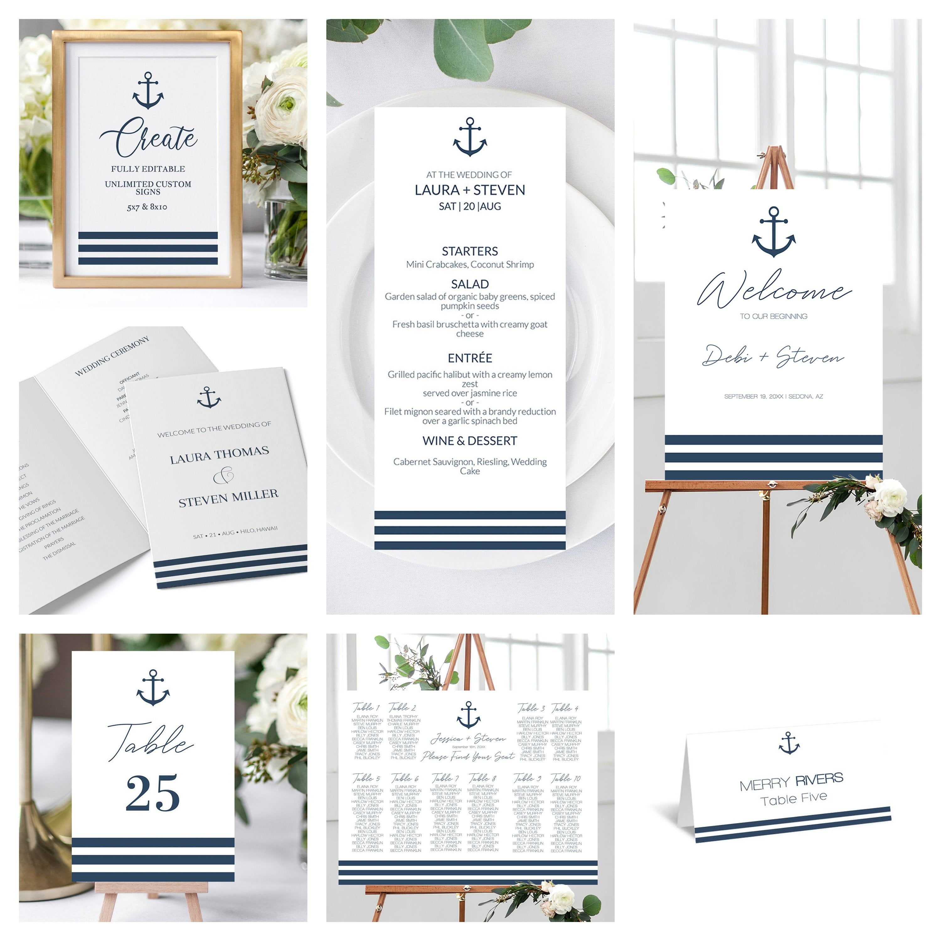 Nautical Wedding Welcome Sign Bundle Template Welcome Sign Custom Sign Place Cards Seating Chart Table In 2020 Nautical Wedding Wedding Welcome Table Number Cards