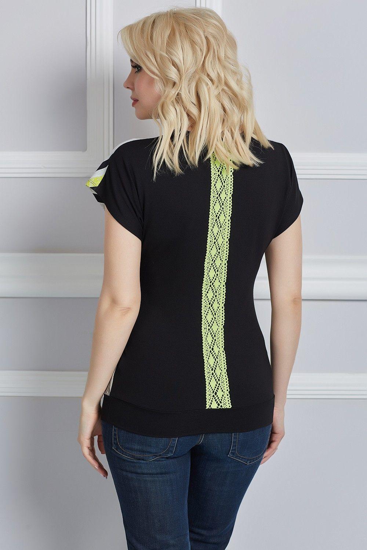 cf42d887bed Удобная летняя блузка с коротким рукавом и с кружевным декором ...