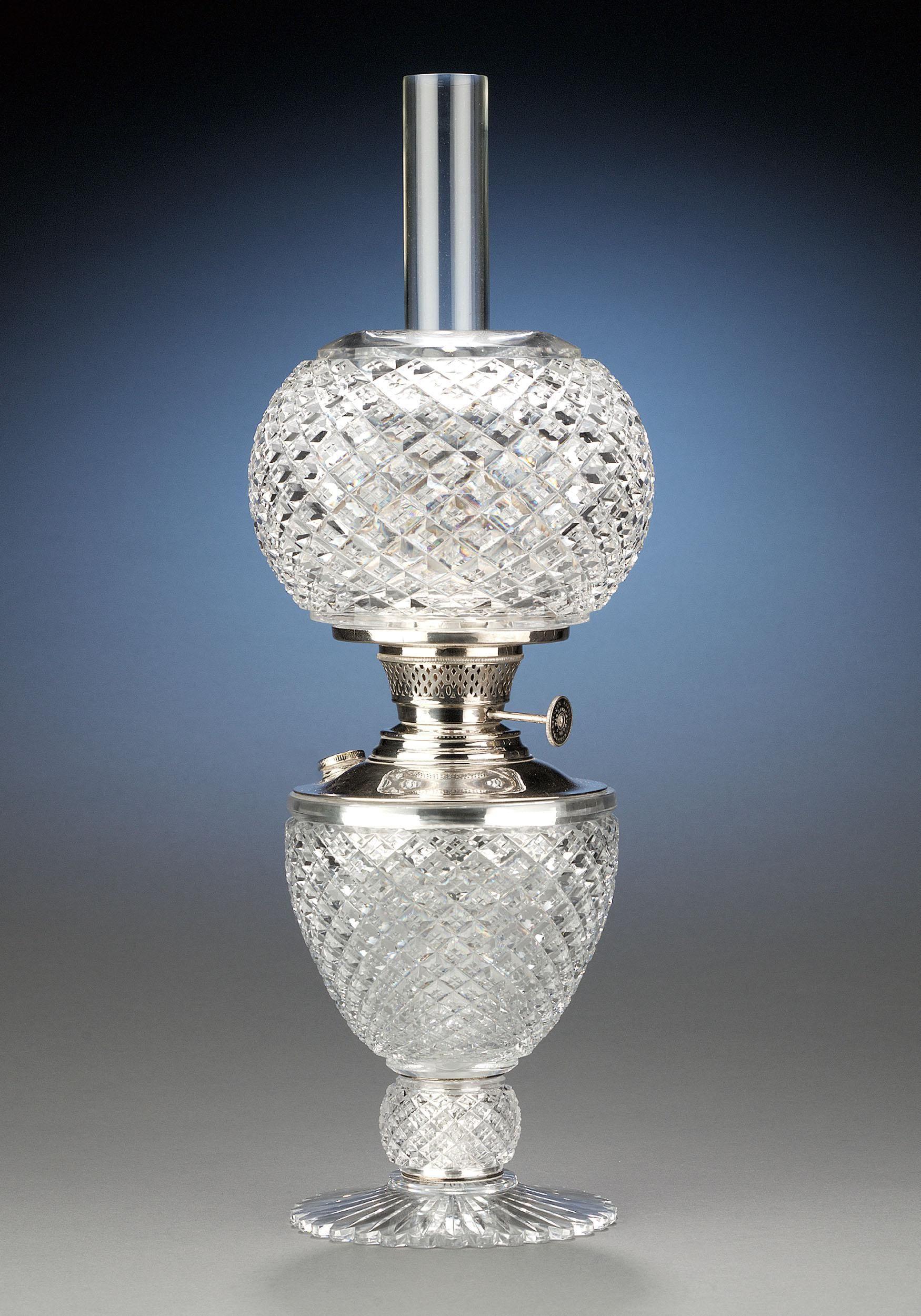 Antique Glass, American Brilliant Cut Glass, Oil Lamp ~ Circa 1900  M.S. Rau…