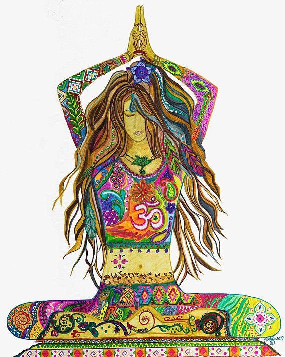 Soulaya Yoga Pose Painting, Gallery Wrapped Canvas Print, Bohemian Home Decor, Namaste, Yoga Studio Art, Abstract Modern Yoga Artwork