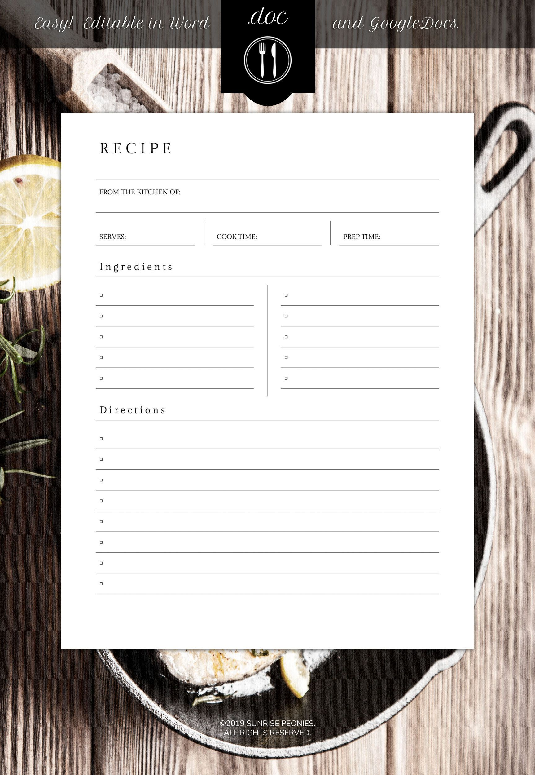 Best Seller Editable Recipe Template Design 032 Instant Download Recipe Binder Printable Housewarming Gift Recipe Box Food Journal Recipe Book Templates Recipe Cards Template Recipe Template