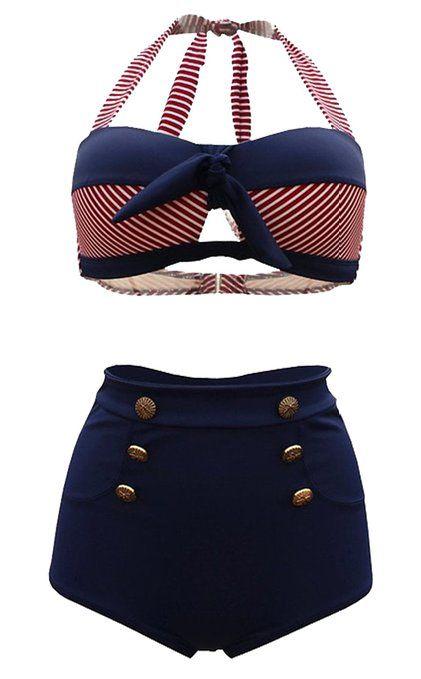 Tailloday Vintage Bikini Retro Femme 2 pieces Maillot de bain Taille haute style L Noir et bleu