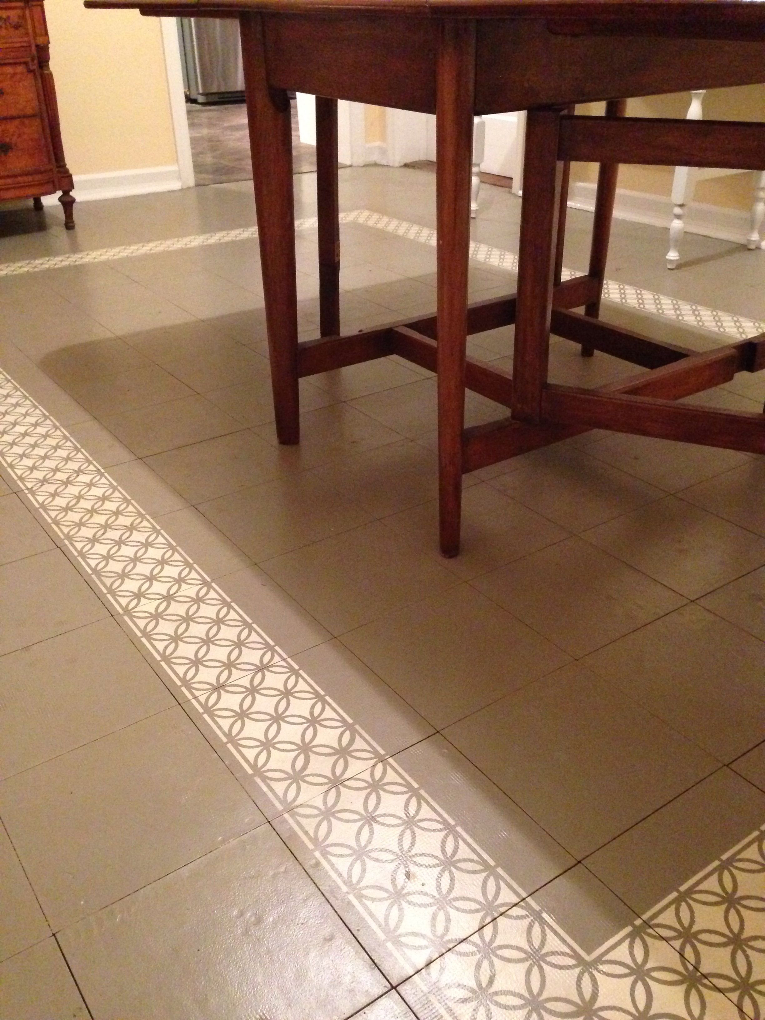Painted tile floor, Annie Slone chalk paint French Linen stenciled ...