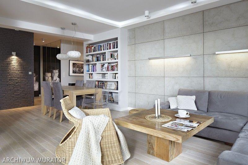 Podświetlana Betonowa ściana W Salonie Dodaje Stylu W Tle ściana Na Granicy Przedpokoju Która Została Wyk Best Living Room Design Home Room Design Home Decor