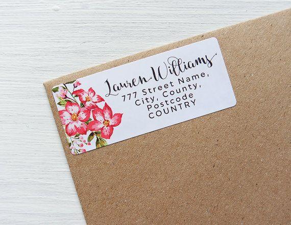 Custom return address labels floral tropical flowers personalized address stickers by azmari