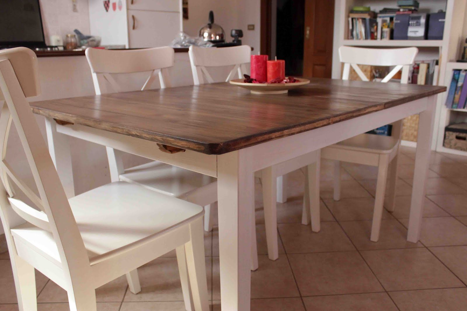 make your own country kitchen table with a cheap ikea table. this