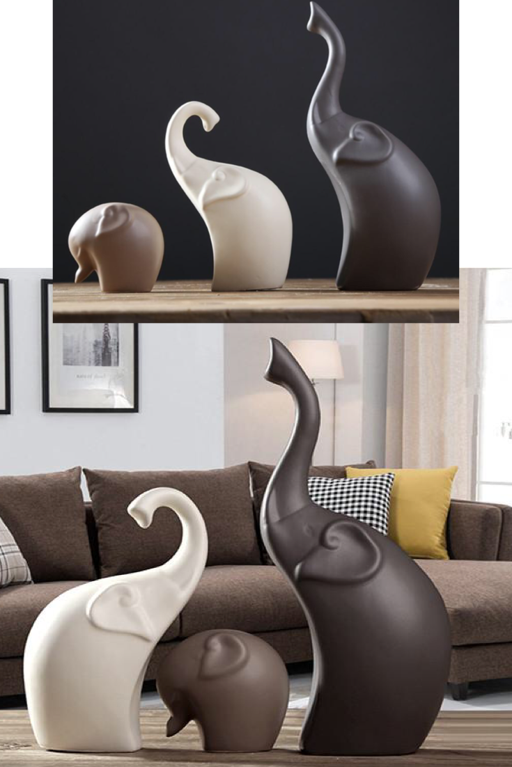 Elephant Sculpture Animal Decor  Elephant decor living room