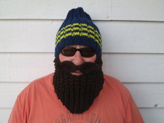 9284d9ab Go Big Blue Beard hat Beard Beanie Wild Man by Ritaknitsall | Knit ...
