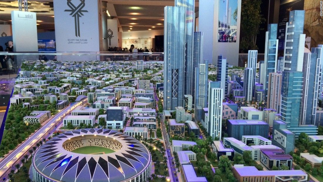 Model of the new capital on display during the announcement of the project in Sharm el Sheikh.