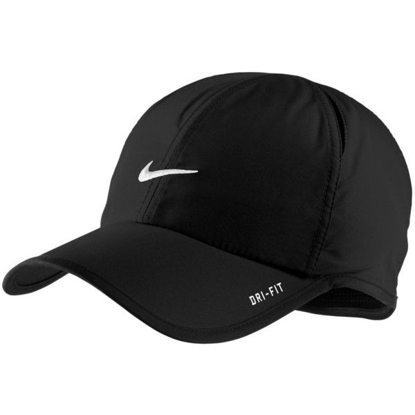 124a70c2f11b9 Nike Hat, Dri Fit Feather Light Cap ($23) ❤ liked on Polyvore featuring  accessories, hats, caps, black, fillers, dri fit hat, feather hat, holiday  hats, ...