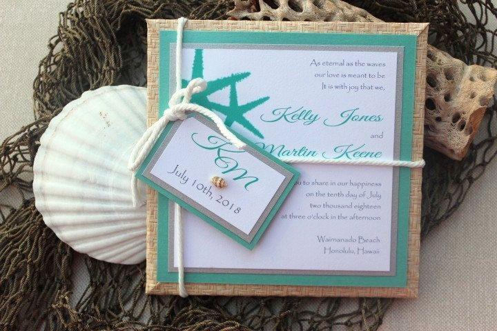 maybe a bit overboard - Wedding Invitations Beach Destination Tiffany Blue-White-Silver. $12.50, via Etsy.