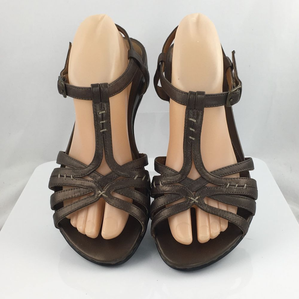 94597724d62e Clarks Artisan womens T-Strap Sandals size 8W Metallic Bronze Leather 60850  work  Clarks  AnkleStrap  Casual