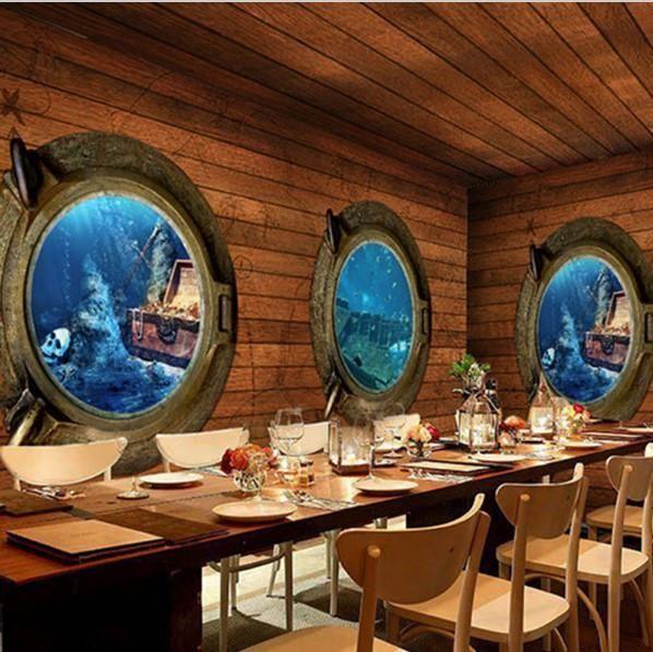 Retro Pirate Theme Ship Portholes Wood Mural Wallpaper Wood Effect Wallpaper Retro Home Decor Custom Murals