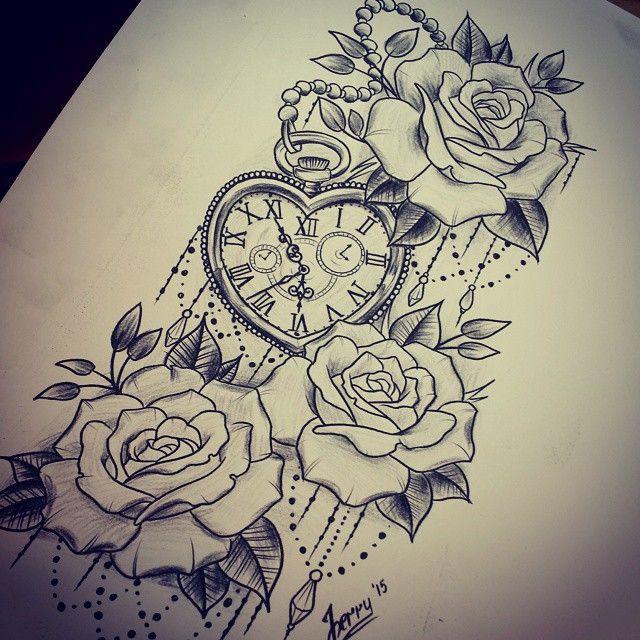 Late night sketch #tattooidea #rosetattoo #watchtattoo # ...