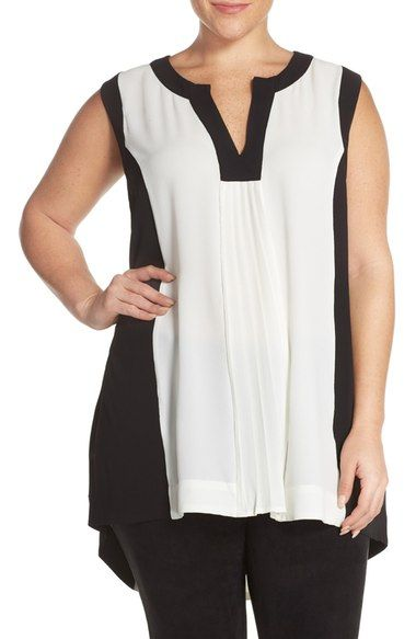 30ef3cb6999 Melissa McCarthy Seven7 Pleat Front High Low Tank (Plus Size)