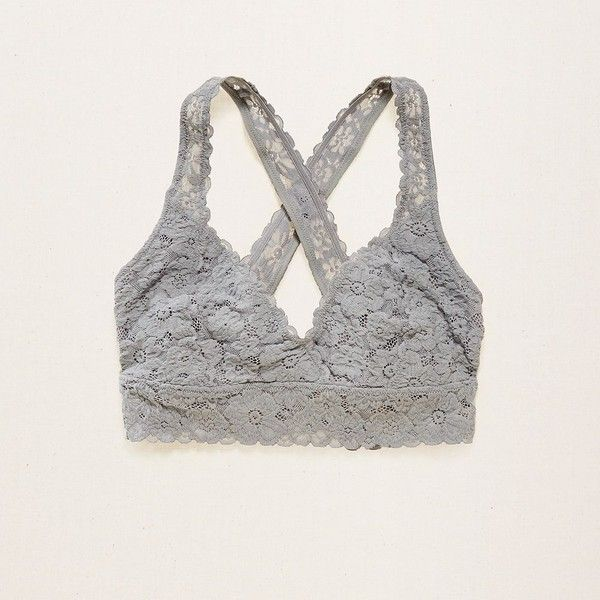 f4a1000c335 Aerie Lace Cross-Back Bralette ($14) ❤ liked on Polyvore featuring  intimates, bras, silver, cross back bra, strap bra, lace strappy bra, criss  cross back ...
