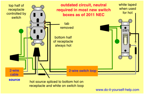 wiring diagram, split receptacle in 2019 | Light switch ... on light fixture wiring diagram, half switched receptacles, wall outlet diagram, single pole switch wiring diagram, switch loop wiring diagram, light switch from outlet diagram, half switched duplex outlet, switched receptacle diagram, switch receptacle wiring diagram,