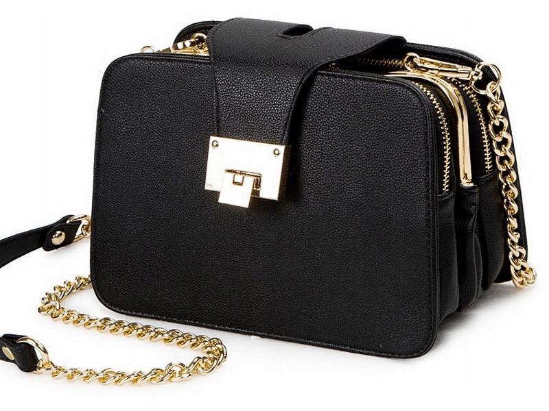 L50 Elegancka Torebka Damska Kuferek Czarna Pojemn Chic Black Bag Bags Shoulder Bag