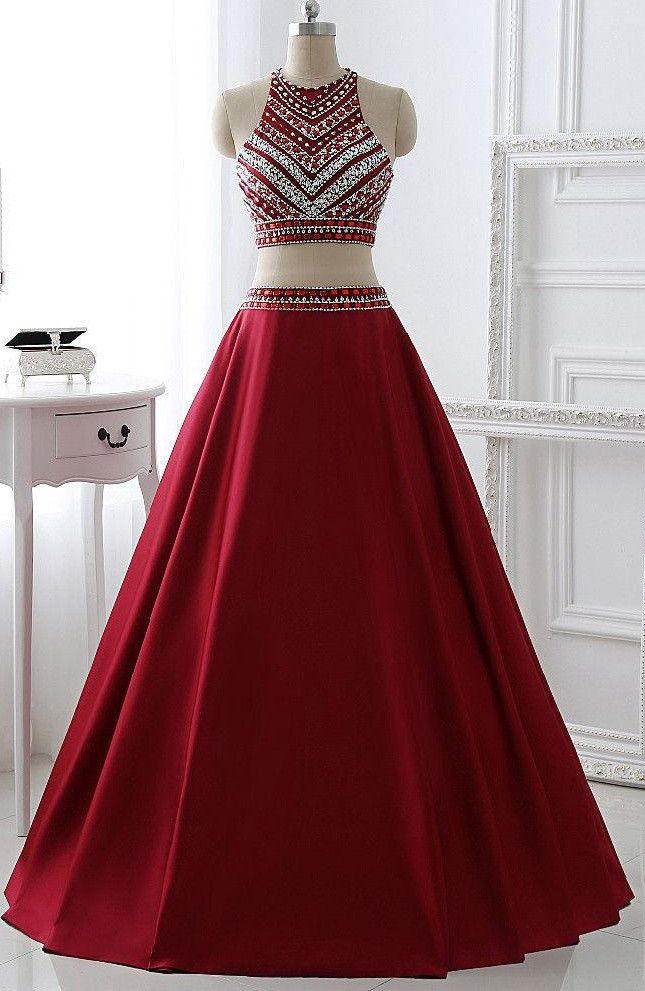Two Pieces Burgunday Prom Dress Bridal Party Dresses Pst0990 Prom Dresses For Teens Burgundy Prom Dress Evening Dresses Prom