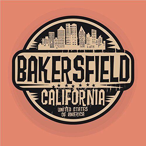 Bakersfield city usa grunge label home decal vinyl sticker 12 x 12
