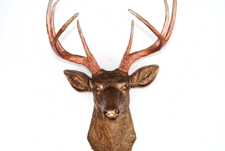 Ombre - Bronze Deer Head Decor - Copper Antlers w/ Caramel Latte Tips  - Deer Head Antlers Faux Taxidermy Wall Mount D091125 by NearAndDeer on Etsy https://www.etsy.com/listing/161777658/ombre-bronze-deer-head-decor-copper