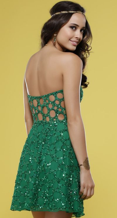 ee9b9ea750b Another image of Emerald Green Beaded Scala Cocktail Dress with Cut-Out Back  14241