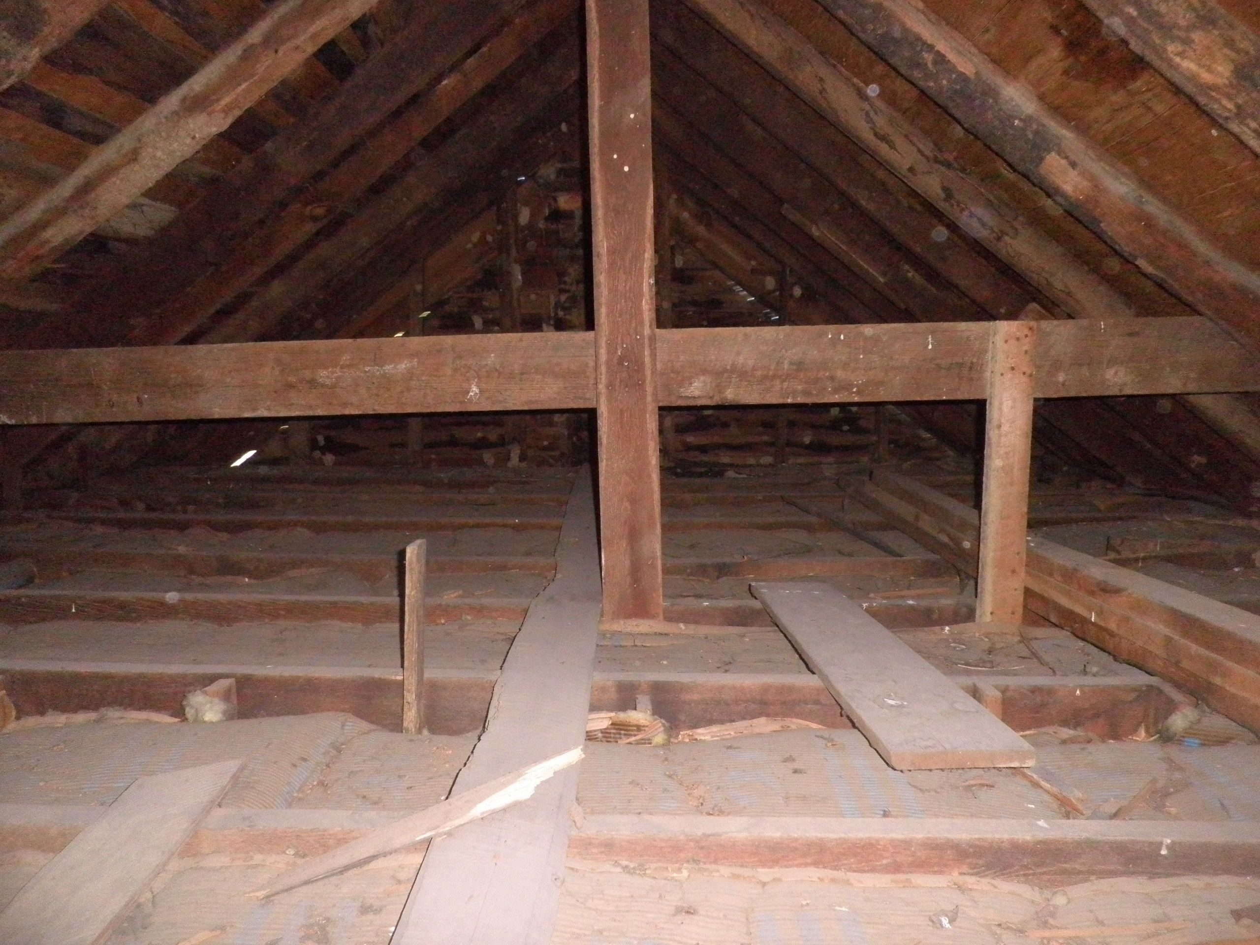 Great example of an attic in need of more insulation. Easy